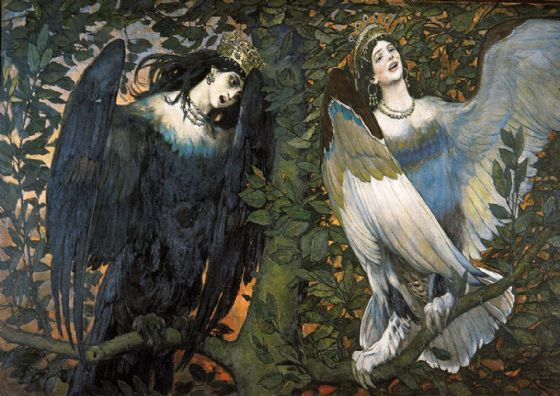 Vasnetsov, Viktor Mikhailovich: Sirin and Alkonost - The Birds of Joy and Sorrow. Fine Art Print/Poster. Sizes: A4/A3/A2/A1 (00584)